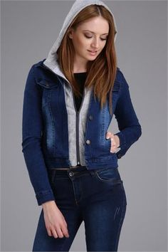 BAD COMBINATION OF TWO HOODED JACKET - BLUE