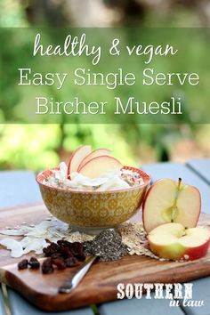 This Vegan Bircher Muesli Recipe is so easy and makes a single serve. Soaked overnight in the fridge, this healthy breakfast recipe is perfect for meal prep and can be gluten free, sugar free and allergy friendly too!