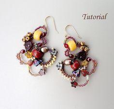 PDF for freeform peyote beadwoven earrings beading pattern tutorial - beadweaving beaded seed bead jewelry - LOOP de LOOP