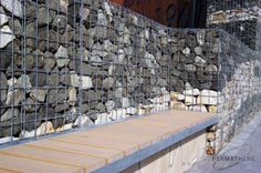 PERMATHENE Supplier of Gabions and Landscaping Materials Gabion Cages Gabion cages and weld mesh. See our range of architectural gabion in stainless steel, Al-Ten, PVC coated. Gabions C Ringers C ringers and C Gabion Cages, Gabion Wall, Gabion Stone, Landscape Materials, Rock Wall, House Wall, Outdoor Ideas, Fence, Sustainability