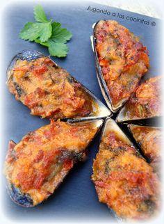 Jugando a las cocinitas: Mejillones con jamón al horno