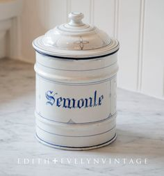 Antique French Canister, White Enamel, Semoule, Blue and White, From France
