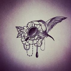 Bird flower jewel bead tattoo design