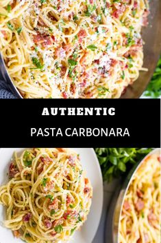 Ingredients 1 pound spaghetti pasta 1 tablespoon salt 1 pound thick cut bacon or pancetta diced 4 egg yolks 2 w. Easy Pasta Recipes, Easy Dinner Recipes, Fun Cooking, Cooking Recipes, Meal Recipes, Authentic Spaghetti Carbonara Recipe, Pasta Dinners, Meals, Pasta Carbonara