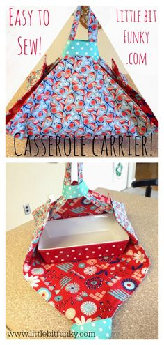 May 2019 - This is super easy pattern to DIY a Casserole Carrier. These adorable carriers are great for taking dishes to potlucks! They are reversible, cute and quick! Christmas Sewing Projects, Small Sewing Projects, Sewing Projects For Beginners, Sewing Hacks, Sewing Tutorials, Sewing Tips, Sewing Ideas, Bag Tutorials, Crochet Projects