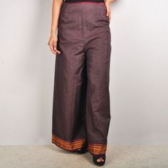 High waist palazzo pants  High waist palazzo pants with traditional border goes perfectly well with a crop top or kurta. Loose clothes is what you look for in this sweaty weather to keep you cool and these palazzos will definitly suit your requirement. Shop no at: http://www.tadpolestore.com/dori