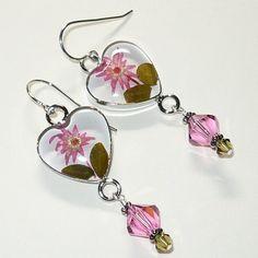 Flower Heart Bezel & Swarovski 5301 RoseCrystal .925 Sterling Earrings | KatsAllThat - Jewelry on ArtFire