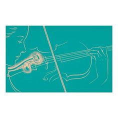 Vintage Violin Woman Microphone Music Turquoise Posters #violin #vintagemusic #iconographique