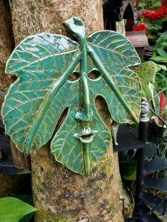 Fig Leafman ceramic Mask by Uturn on Etsy, $65.00 #FigManLeafCeramic Mask #gardenDecor