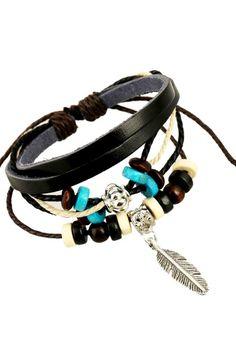 Multicolor Leaf Pendant Leather Bracelet Pack