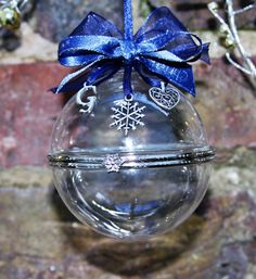 Personalised Hand Blown Glass Christmas Clamshell Baubles - Navy Ribbon by FlairAndFandangle on Etsy