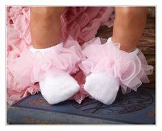 Seamless White - Super Darling Ruffle socks - White socks - You Choose Ruffle color Kids Socks, Baby Socks, Seamless Socks, Frilly Socks, Frilly Knickers, Newborn Shoes, Baby Shoe Sizes, Converse, Toddler Shoes