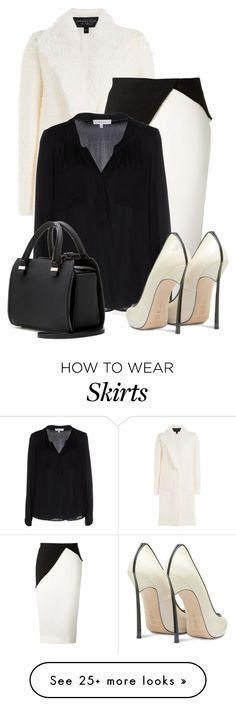 """* Touch of Class: B&W"" by bliznec on Polyvore featuring mode, Giambattista Valli, Victoria Beckham, Milly en Casadei"