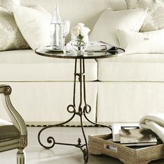 #Venice accent table classic curves flourish with a movement that adds a quiet gentility. The antique mirror top is dramatized by a textured mottled bronze metal base. Another jewel from @hickorychair collection.