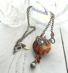Boho Chic Stone Necklace, Boho Chic Stone Jewelry, Bohemian Stone Necklace, Bohemian Agate Necklace, Boho Jewelry Gift ideas For Her by KarenTylerDesigns on Etsy