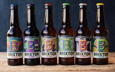 Brixton Brewery packaging- colorful 80s inspired design