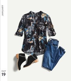 Madison, great boots and nice look! Stitch Fix January Month Of Outfits I like the jeans with the dark print top and dark shoes. Fresh Outfits, Winter Outfits, Casual Outfits, Fashion Outfits, Fashion Tips, Night Outfits, Fashion Ideas, Warm Outfits, Casual Clothes