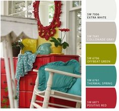 Teal, green, and red. The green and red are great accent colors for predominantly teal room!!
