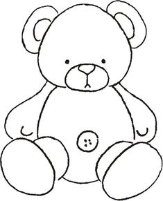 Teddy Bear ~ applique or let the kids color it Applique Templates, Applique Patterns, Applique Quilts, Applique Designs, Quilt Patterns, Teddy Bear Outline, Teddy Bear Template, Teddy Bear Coloring Pages, Coloring Books