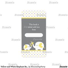 Yellow and White Elephant Baby Shower Bookplate