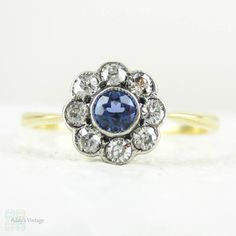 Sapphire & Diamond Engagement Ring Vintage Old Cut Diamond by Addy