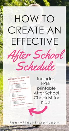Simple to Use After School Checklist For Kids -- P…