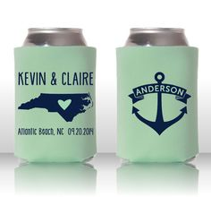Nautical Wedding Coozies with Anchor  Personalized by DraftHouse, $75.00