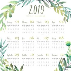 Floral 2019 calendar with watercolor leaves Free Vector Mom Planner, Lesson Planner, Planner Pages, Calendar 2019 Printable, 2019 Calendar, Printable Planner, Colegio Ideas, Floral Printables, Freebies