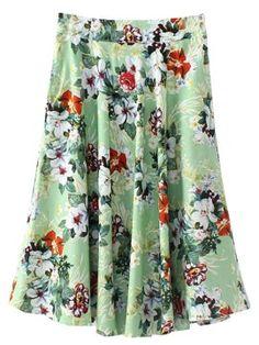 Shop Green Floral Zipper Side Skirt from choies.com .Free shipping Worldwide.$22.99