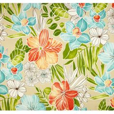 Tropical Floral Opal in Aqua, Orange and Tan Outdoor Fabric PO1448