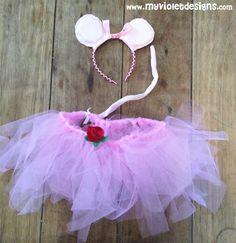 Disfraz de angelina Ballerina, tutu con flor y colita, vincha con orejas y lazo, myvioletdesigns.com