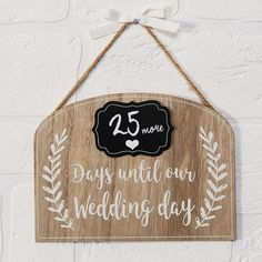 """Wedding Countdown The """"Countdown to our Wedding Chalkboard MDF Plaque"""" is a really cute hanging MDF sign. A really nice idea for an engagement gift, ideal for the couples home. Chalk is included with this gift. Engagement Signs, Engagement Presents, Diy Craft Projects, Diy Crafts, Wedding Countdown, Creative Wedding Ideas, Chalkboard Wedding, Diy Signs, Our Wedding Day"""