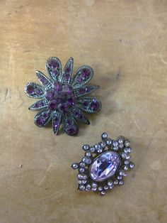 Two Vintage Retro Purple Diamante Crystal Brooches by MollyTops
