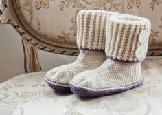 Crochet Slipper Boots In Deramores Vintage Chunky- 30 Easy Fast Crochet Slippers Pattern | DIY to Make