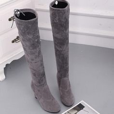 d3158b8ce80 Thigh High High Heeled Chunky Point Toe Boots