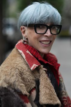 Sara Gay for Advanced Style. This look is so on trend right now, mixing textures with strong colours and lots of layers!