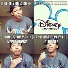 Disney Channele<<<I really don't like the new Disney tv shows, including: liv and maddie, gravity falls, the-one-where-there-are-five-best-friends i have no idea what's it called, shake it up, dog with a blog, austin and ally, basically all the shows disney has now.. And most of it is just situations where they are in trouble or boyfriend/girlfriend problems, which is BORING, they even changed their logo. Walt Disney would be disappointed .