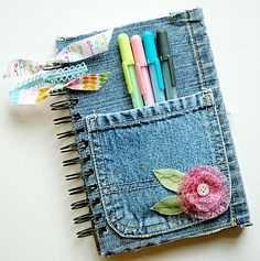 Upcycling old jeans - denim covered journal