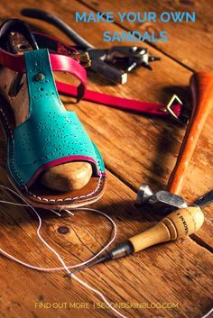 Learn to make beautiful leather sandals! Diy Leather Sandals, Leather Slippers, Make Your Own Shoes, How To Make Shoes, How To Make Leather, Leather Tooling Patterns, Shoe Pattern, Leather Projects, Bare Foot Sandals