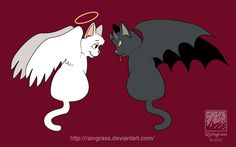 Angel and Devil Cats by Raingrass