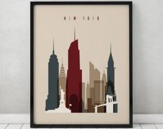 New York print Poster Wall art Cityscape New by ArtPrintsVicky