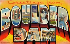 Arizona AZ 1937 Large Letter Greetings From Boulder Dam Vintage Linen Postcard