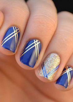 Royal Blue Nails With Silver Accents;blue manicure;blue nail designs;Blue Gel;Nail Polish;blue nail art;rhinestone nails; blau, Stunning Cobalt Blue Nails For Elegant Ladies Nail Art Stripes, Gold Nail Art, Striped Nails, Gold Nails, Fun Nails, Nail Art Blue, Blue Art, Nails With Stripes, Gold Glitter