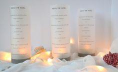 Déco de table Noël : les photophores en papier calque affichent le menu