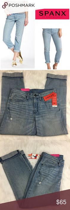 "SPANX - The Slim-X Casual Cuff Boyfriend Jean SPANX - The Slim-X Casual Cuff Boyfriend Jean -- NWT -- Cropped, Cuffed hem, straight leg, Spanx technology & comfort fit.    📍 Please see 2nd & 3rd photo for actual color  🌺Size: 26 🌺Color: Faded Blue 🌺Waist: 14.5""  (flat lay)       Inseam: 25"" - cropped       Front Rise: 9"", Back Rise: 12"" SPANX Jeans"