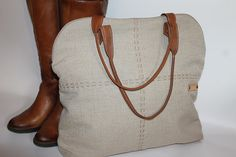 Tote bag Canvas and leather bag  lady bag women's gift Brown Leather strap Elegant bag