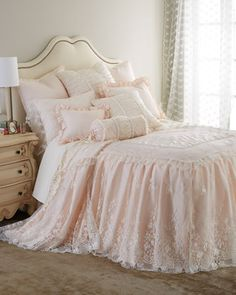 Shop luxury bedding sets and bedding collections at Horchow. Browse our incredible selection of full, queen, and king size luxury bedding sets. Dream Bedroom, Home Bedroom, Bedroom Decor, Garden Bedroom, Master Bedroom, Lace Bedding, Bedding Sets, Queen Bedding, Pink Bedding