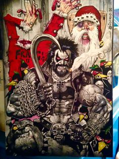 SIMON BISLEY  LOBO paramilitary Christmas  LARGE painting 23 x 16 inches.
