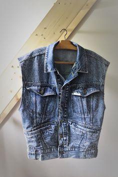 Blouson Jean Oversize // Vintage Jacket Jean Unisex https://etsy.me/2IS55Wo #vetements #veste #bleu #vtgvestjean #jeanbrut