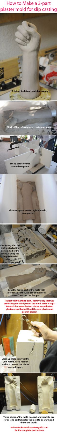 How to create a 3 part plaster mold for slip casting pottery. See www.kawarthapottersguild.com for more details.